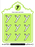 Printing practice activities for the capital letter Y